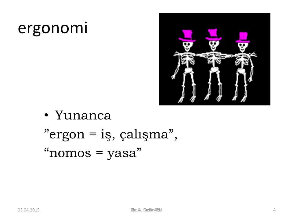 ergonomi Yunanca ergon = iş, çalışma , nomos = yasa 09.04.2017