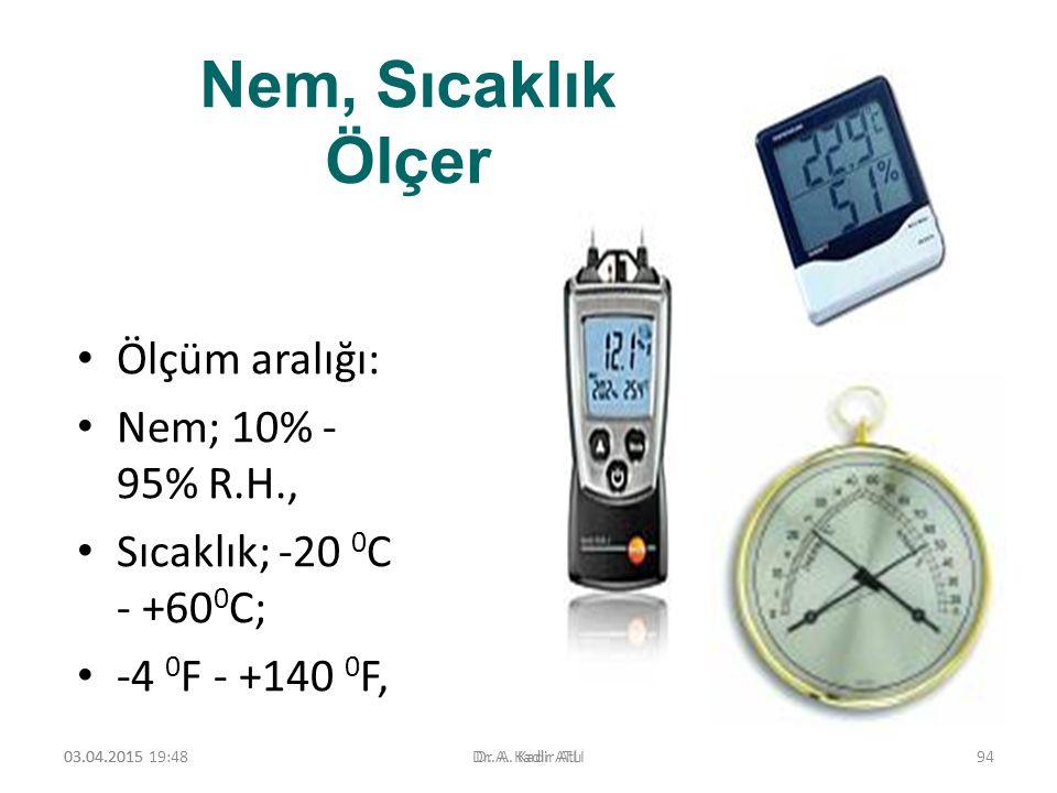 Nem, Sıcaklık Ölçer Ölçüm aralığı: Nem; 10% - 95% R.H.,