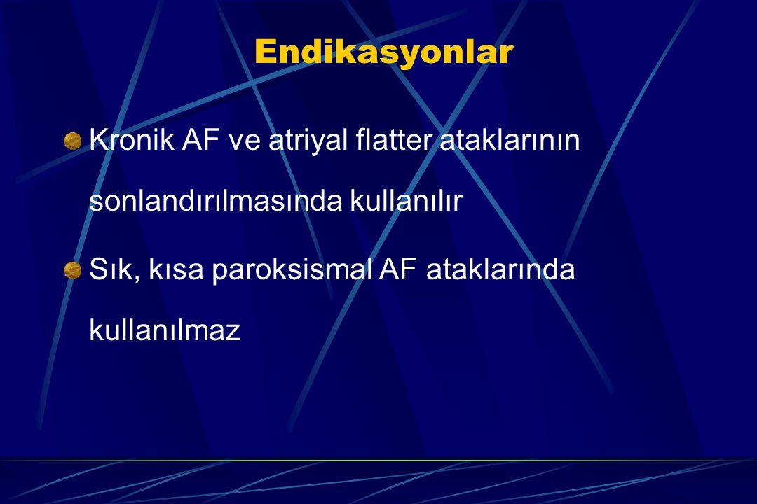 Endikasyonlar Kronik AF ve atriyal flatter ataklarının sonlandırılmasında kullanılır. Sık, kısa paroksismal AF ataklarında kullanılmaz.