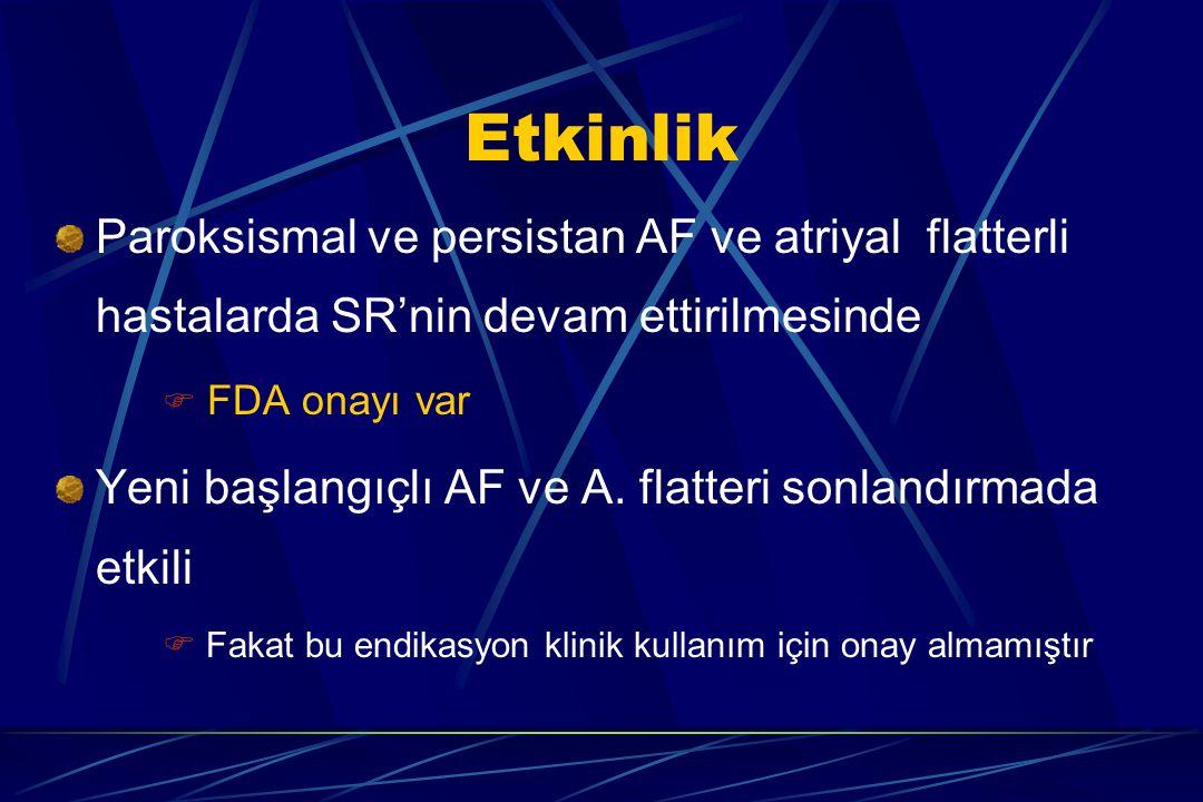 Etkinlik Paroksismal ve persistan AF ve atriyal flatterli hastalarda SR'nin devam ettirilmesinde.  FDA onayı var.
