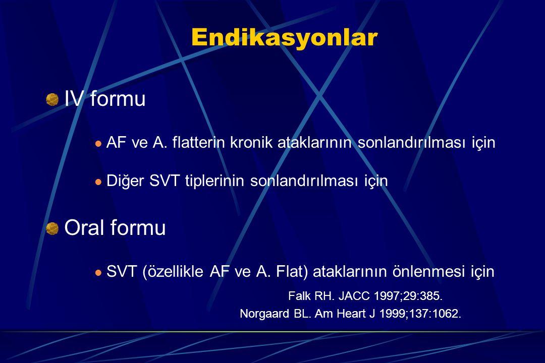Endikasyonlar IV formu Oral formu