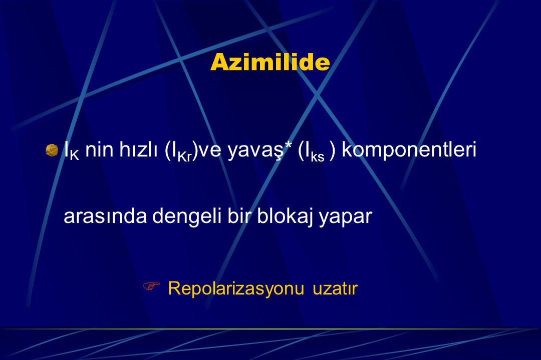 Azimilide IK nin hızlı (IKr)ve yavaş* (Iks ) komponentleri arasında dengeli bir blokaj yapar.
