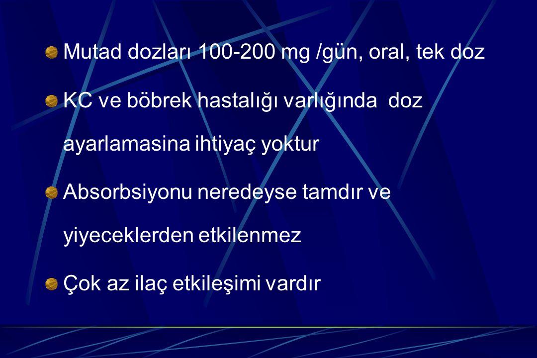 Mutad dozları 100-200 mg /gün, oral, tek doz