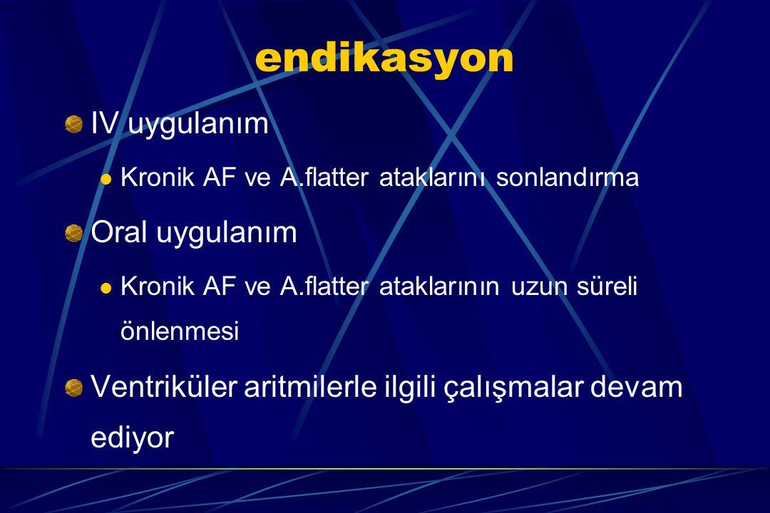 endikasyon IV uygulanım Oral uygulanım