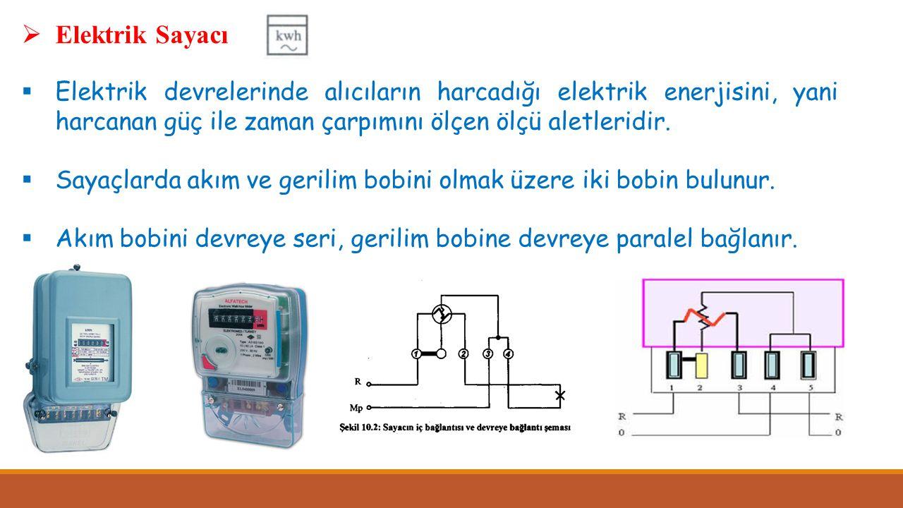 Elektrik Sayacı Elektrik devrelerinde alıcıların harcadığı elektrik enerjisini, yani harcanan güç ile zaman çarpımını ölçen ölçü aletleridir.