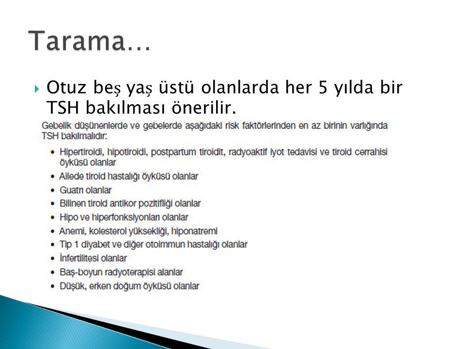 Tarama… Otuz beș yaș üstü olanlarda her 5 yılda bir TSH bakılması önerilir.