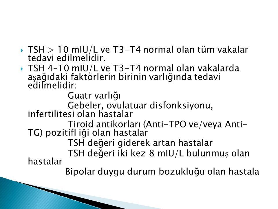 TSH > 10 mIU/L ve T3-T4 normal olan tüm vakalar tedavi edilmelidir.