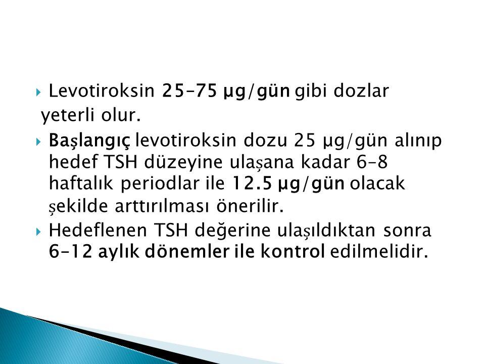Levotiroksin 25–75 μg/gün gibi dozlar