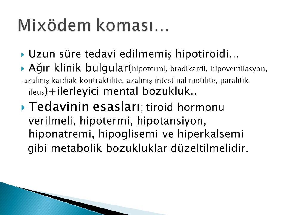 Mixödem koması… Uzun süre tedavi edilmemiș hipotiroidi… Ağır klinik bulgular(hipotermi, bradikardi, hipoventilasyon,
