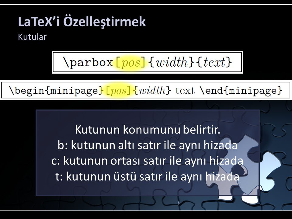 LaTeX'i Özelleştirmek