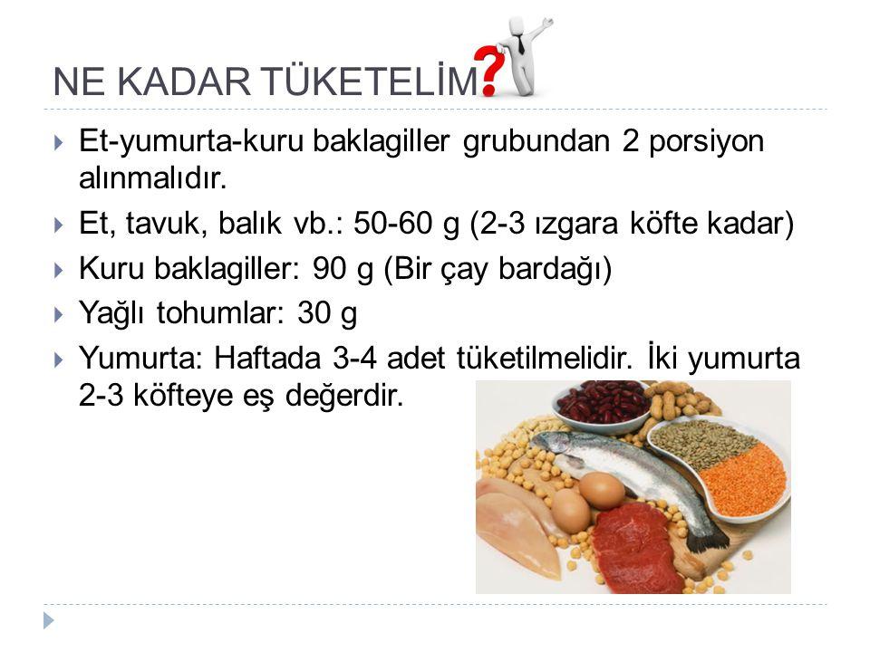NE KADAR TÜKETELİM Et-yumurta-kuru baklagiller grubundan 2 porsiyon alınmalıdır. Et, tavuk, balık vb.: 50-60 g (2-3 ızgara köfte kadar)