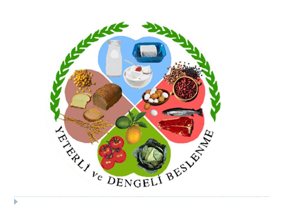 1. Süt ve ürünleri 2. Et, et ürünleri, yumurta, kuru baklagiller ve yağlı tohumlar. 3. Taze sebze ve meyveler.
