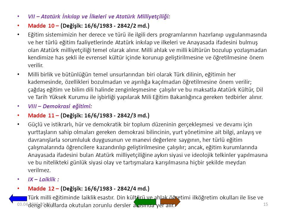 VII – Atatürk İnkılap ve İlkeleri ve Atatürk Milliyetçiliği:
