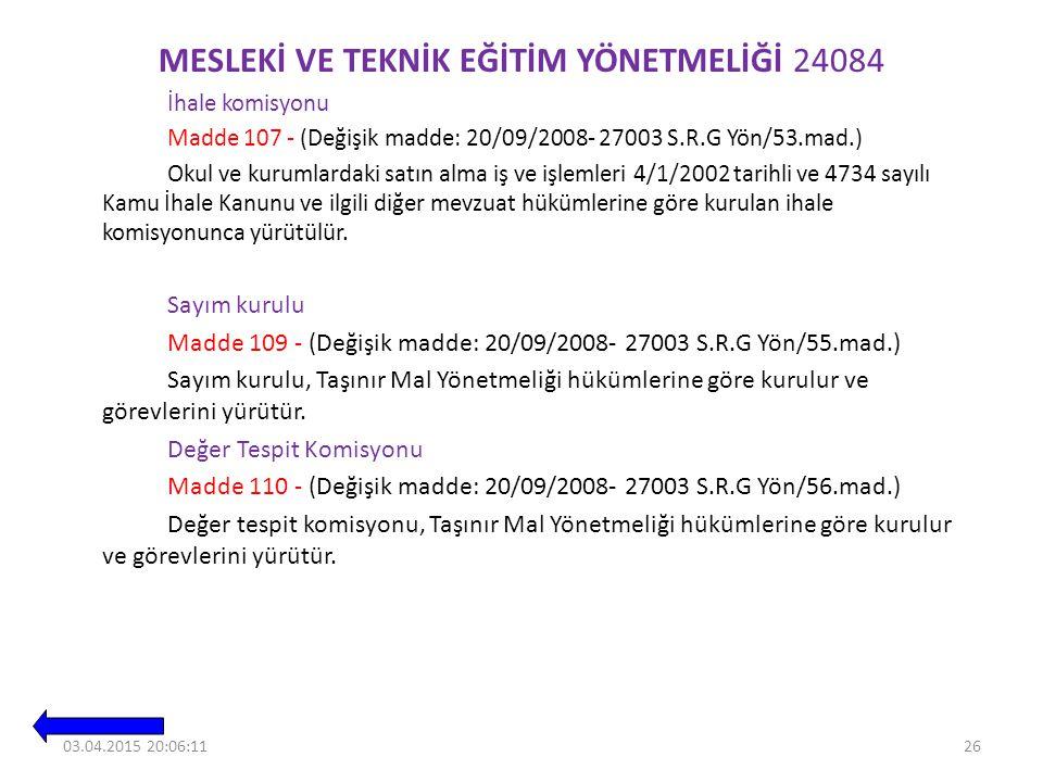 MESLEKİ VE TEKNİK EĞİTİM YÖNETMELİĞİ 24084