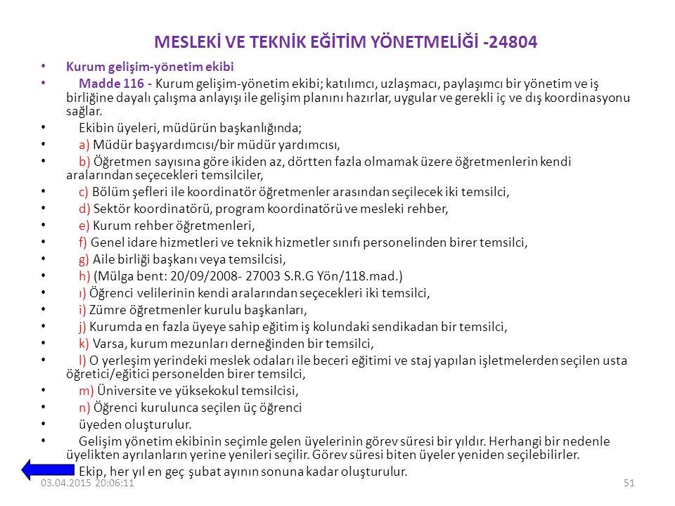 MESLEKİ VE TEKNİK EĞİTİM YÖNETMELİĞİ -24804