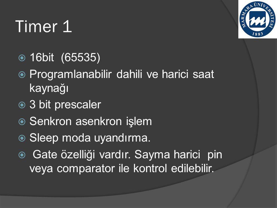 Timer 1 16bit (65535) Programlanabilir dahili ve harici saat kaynağı