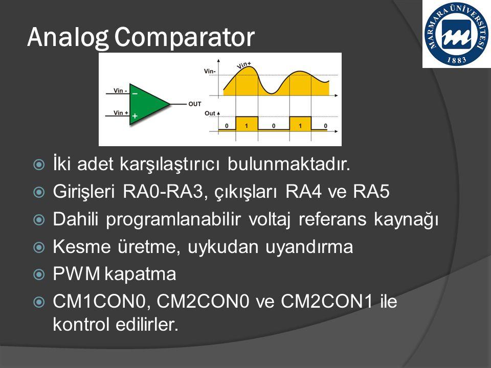 Analog Comparator İki adet karşılaştırıcı bulunmaktadır.