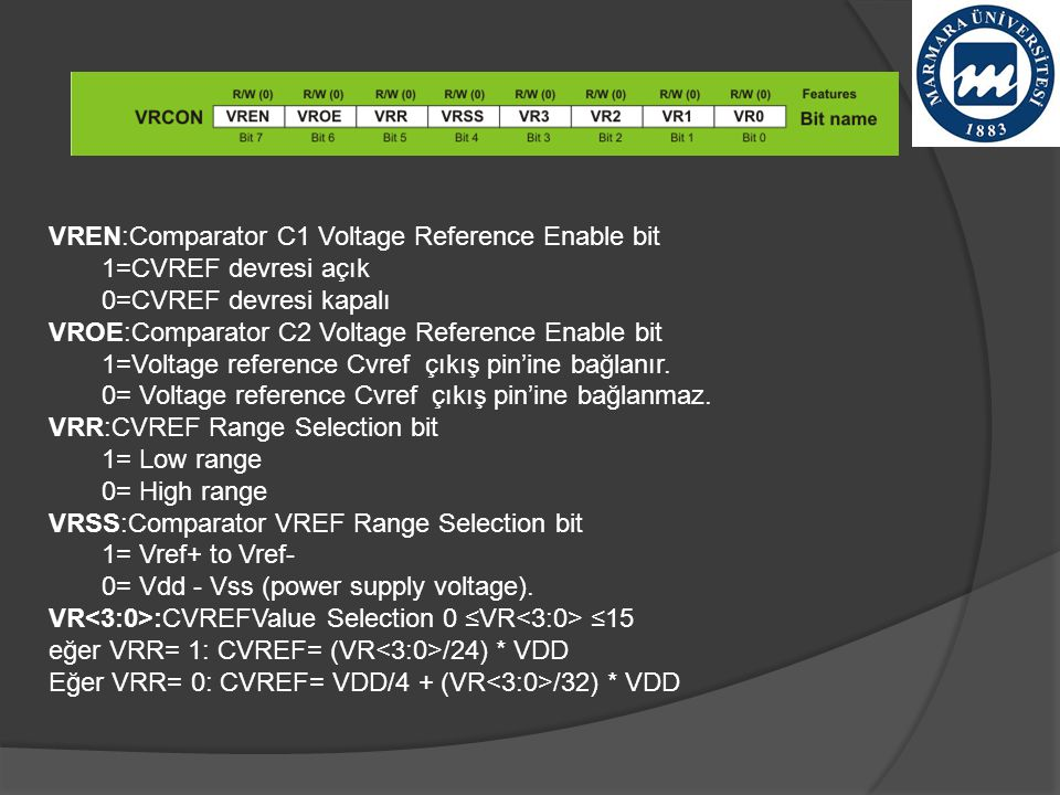 VREN:Comparator C1 Voltage Reference Enable bit