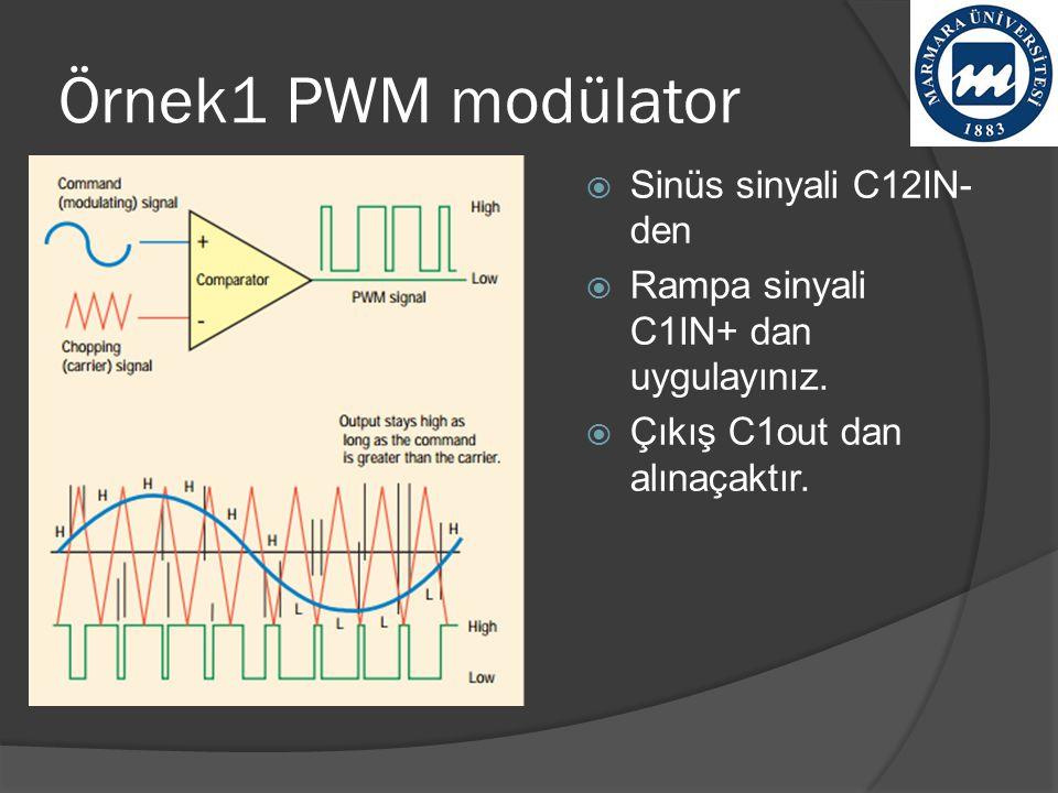 Örnek1 PWM modülator Sinüs sinyali C12IN- den
