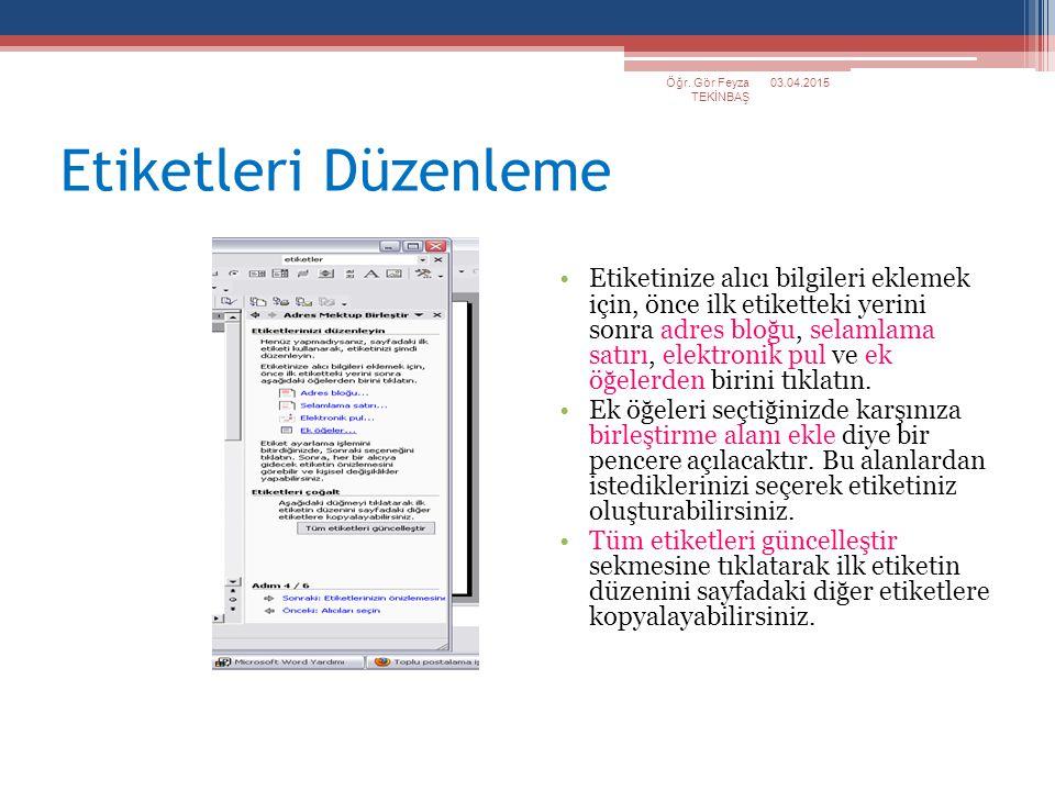 Öğr. Gör Feyza TEKİNBAŞ 09.04.2017. Etiketleri Düzenleme.