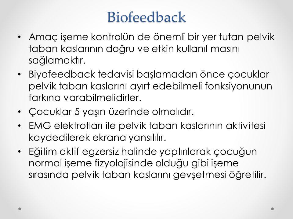 Biofeedback Amaç işeme kontrolün de önemli bir yer tutan pelvik taban kaslarının doğru ve etkin kullanıl masını sağlamaktır.