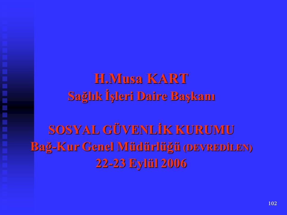 H.Musa KART Sağlık İşleri Daire Başkanı SOSYAL GÜVENLİK KURUMU
