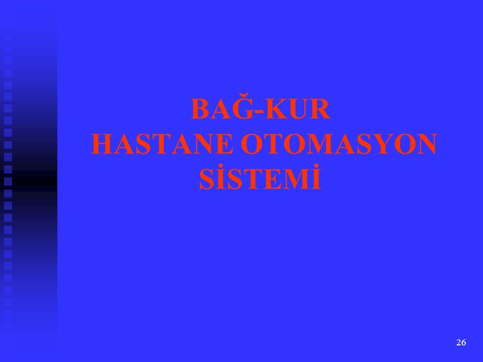 BAĞ-KUR HASTANE OTOMASYON SİSTEMİ