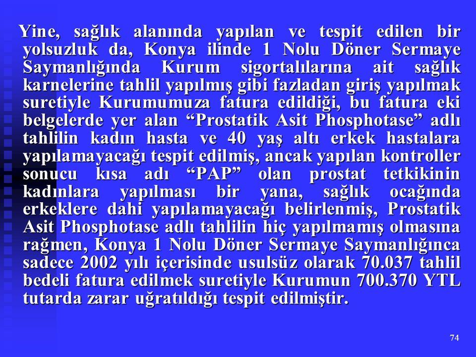 Yine, sağlık alanında yapılan ve tespit edilen bir yolsuzluk da, Konya ilinde 1 Nolu Döner Sermaye Saymanlığında Kurum sigortalılarına ait sağlık karnelerine tahlil yapılmış gibi fazladan giriş yapılmak suretiyle Kurumumuza fatura edildiği, bu fatura eki belgelerde yer alan Prostatik Asit Phosphotase adlı tahlilin kadın hasta ve 40 yaş altı erkek hastalara yapılamayacağı tespit edilmiş, ancak yapılan kontroller sonucu kısa adı PAP olan prostat tetkikinin kadınlara yapılması bir yana, sağlık ocağında erkeklere dahi yapılamayacağı belirlenmiş, Prostatik Asit Phosphotase adlı tahlilin hiç yapılmamış olmasına rağmen, Konya 1 Nolu Döner Sermaye Saymanlığınca sadece 2002 yılı içerisinde usulsüz olarak 70.037 tahlil bedeli fatura edilmek suretiyle Kurumun 700.370 YTL tutarda zarar uğratıldığı tespit edilmiştir.