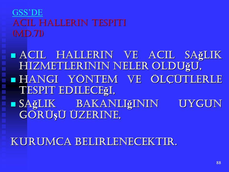 GSS'DE Acil Hallerin Tespiti (Md.71)