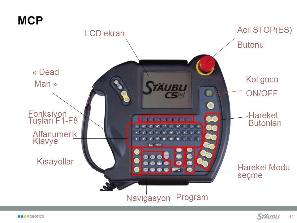 MCP Acil STOP(ES) Butonu LCD ekran « Dead Man » Kol gücü ON/OFF