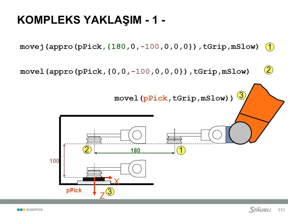 KOMPLEKS YAKLAŞIM - 1 - movej(appro(pPick,{180,0,-100,0,0,0}),tGrip,mSlow) 1. movel(appro(pPick,{0,0,-100,0,0,0}),tGrip,mSlow)