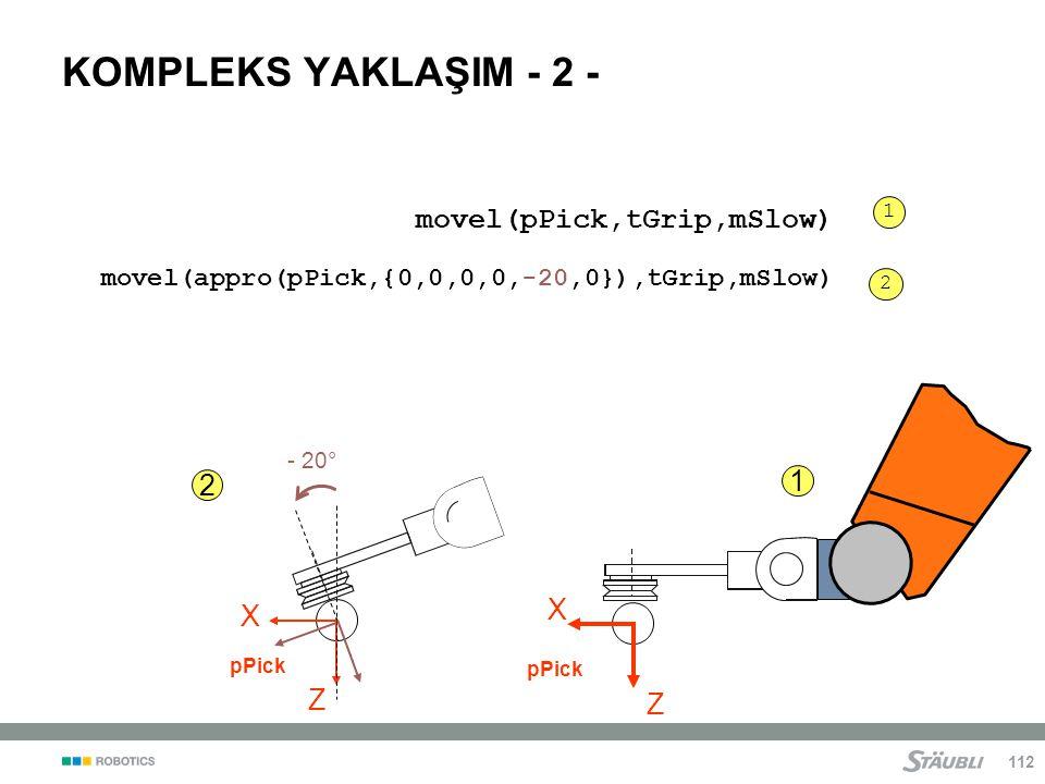 KOMPLEKS YAKLAŞIM - 2 - movel(pPick,tGrip,mSlow) 1 2 X X Z Z