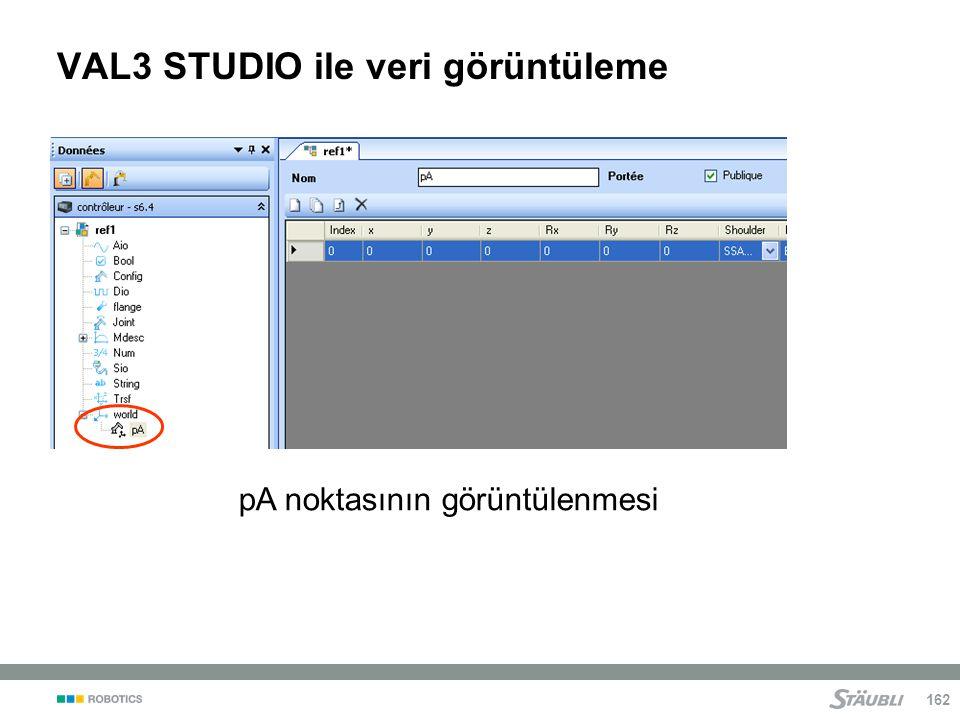 VAL3 STUDIO ile veri görüntüleme