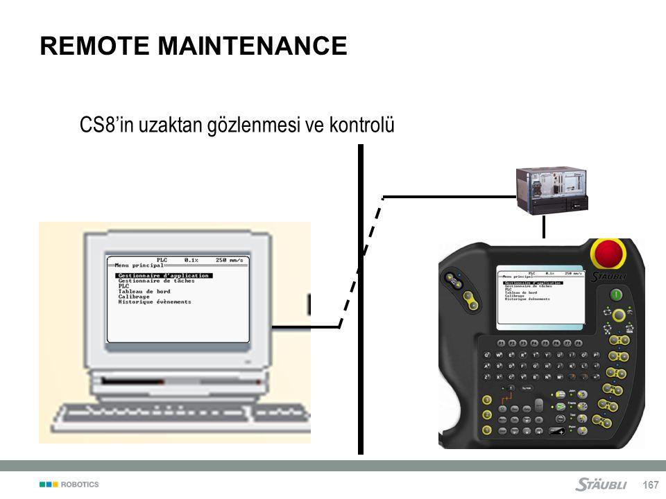 REMOTE MAINTENANCE CS8'in uzaktan gözlenmesi ve kontrolü Notes: