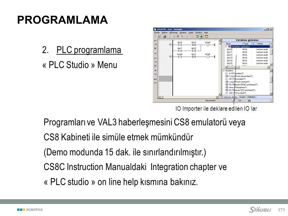 PROGRAMLAMA PLC programlama « PLC Studio » Menu