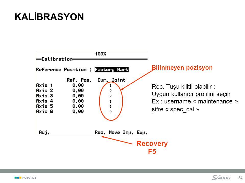 KALİBRASYON Recovery F5 Bilinmeyen pozisyon
