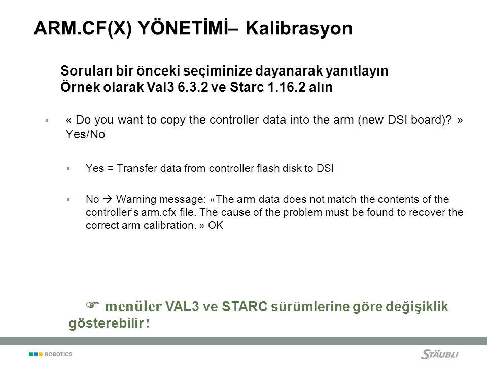 ARM.CF(X) YÖNETİMİ– Kalibrasyon
