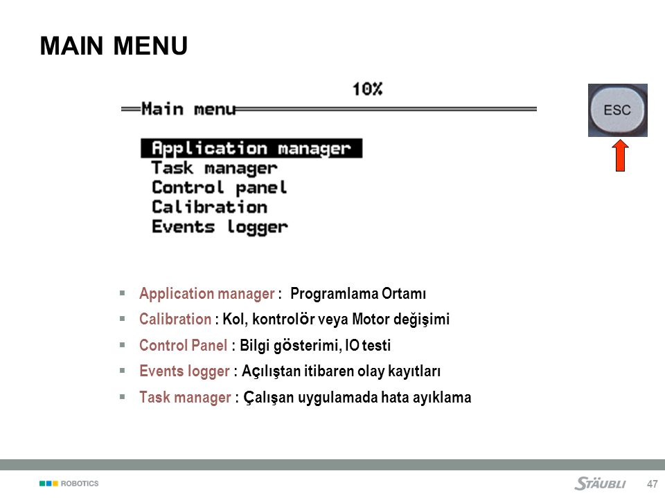 MAIN MENU Application manager : Programlama Ortamı