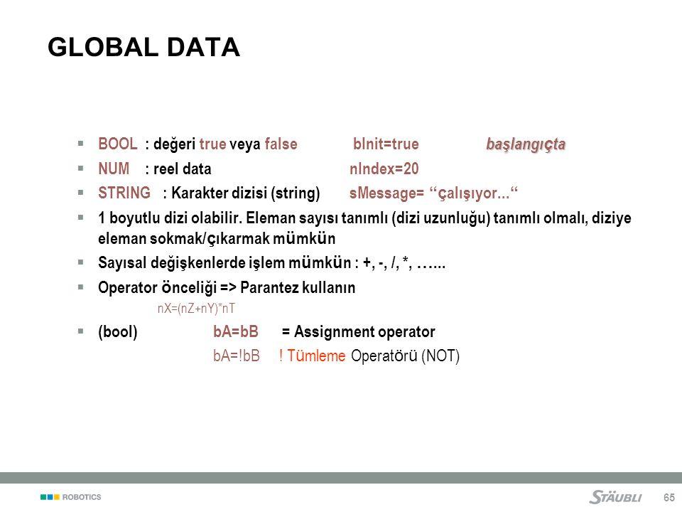 GLOBAL DATA BOOL : değeri true veya false bInit=true başlangıçta