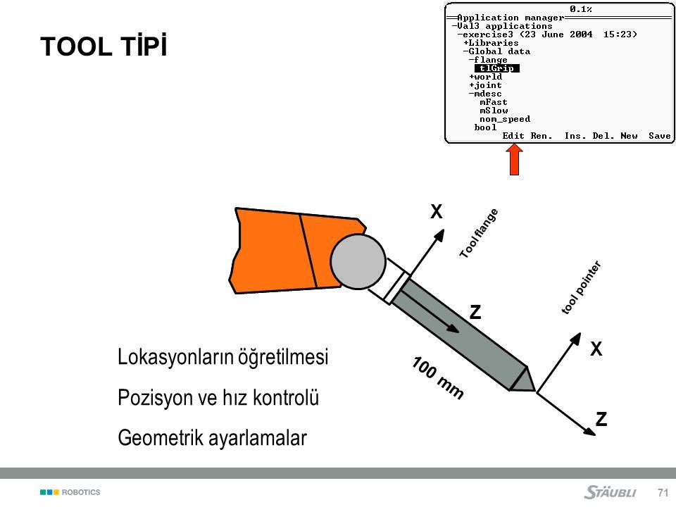 TOOL TİPİ Lokasyonların öğretilmesi Pozisyon ve hız kontrolü