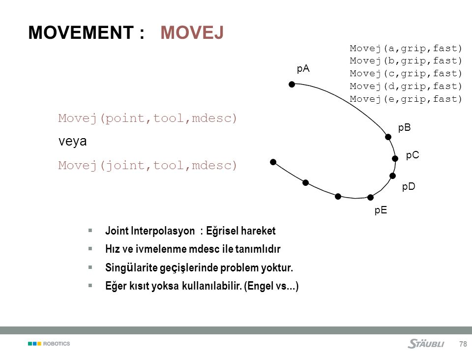 MOVEMENT : MOVEJ Movej(point,tool,mdesc) veya Movej(joint,tool,mdesc)