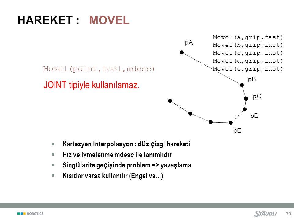 HAREKET : MOVEL JOINT tipiyle kullanılamaz. Movel(point,tool,mdesc)