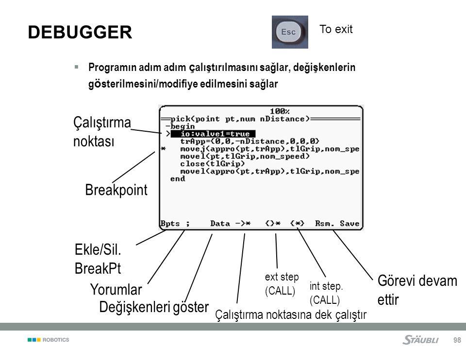 DEBUGGER Çalıştırma noktası Breakpoint Ekle/Sil. BreakPt Görevi devam
