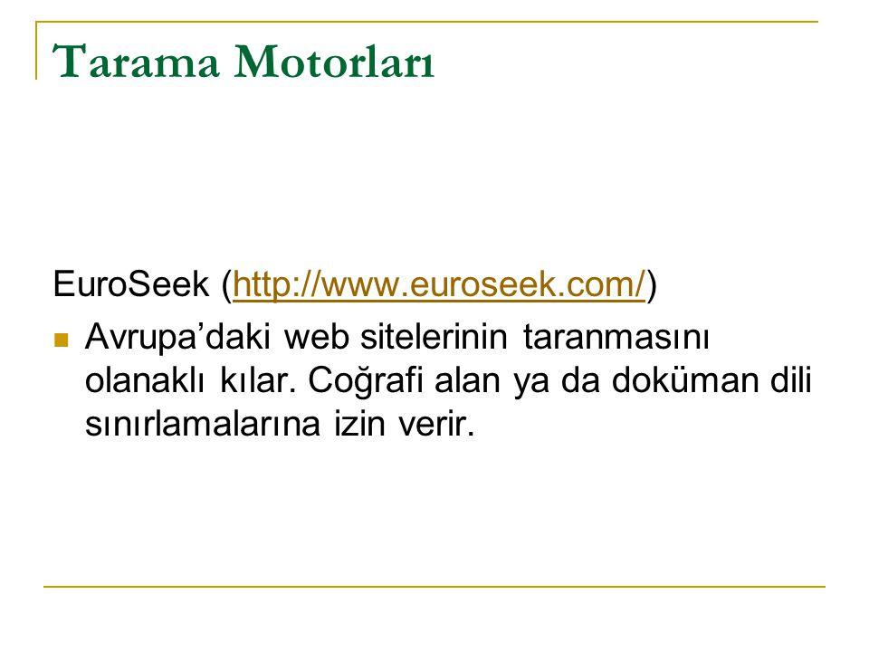 Tarama Motorları EuroSeek (http://www.euroseek.com/)