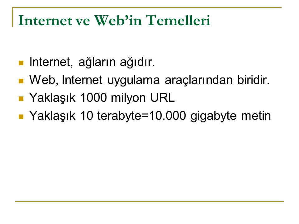 Internet ve Web'in Temelleri