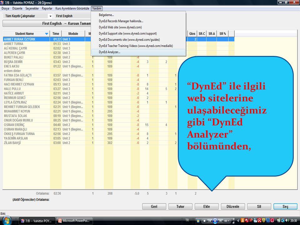 DynEd ile ilgili web sitelerine ulaşabileceğimiz gibi DynEd Analyzer bölümünden,