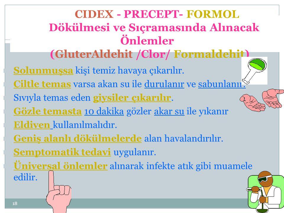 CIDEX - PRECEPT- FORMOL Dökülmesi ve Sıçramasında Alınacak Önlemler (GluterAldehit /Clor/ Formaldehit)