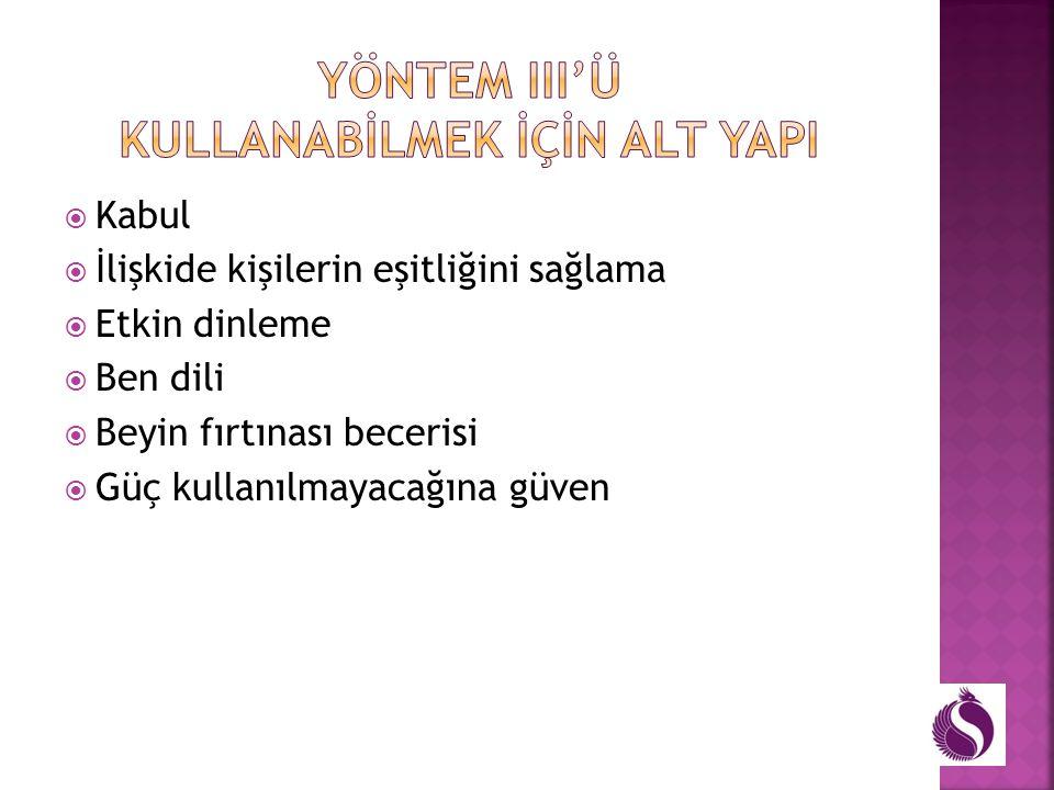 YÖNTEM III'ü KULLANABİLMEK İÇİN ALT YAPI