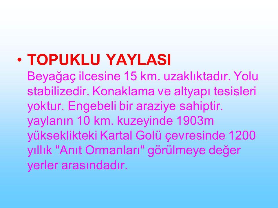 TOPUKLU YAYLASI Beyağaç ilcesine 15 km. uzaklıktadır.