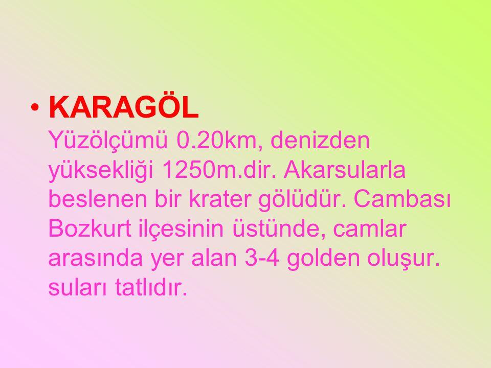 KARAGÖL Yüzölçümü 0. 20km, denizden yüksekliği 1250m. dir